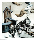American:Regional, THOMAS HART BENTON (American 1889-1975). Frisco Station.Watercolor on paper. 23in. x 18.75in.. Signed lower right. Insc...