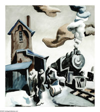 THOMAS HART BENTON (American 1889-1975) Frisco Station Watercolor on paper 23in. x 18.75in. Signed lower right Insc