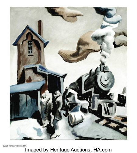 THOMAS HART BENTON (American 1889-1975)Frisco StationWatercolor on paper23in. x 18.75in.Signed lower rightInsc... (Total: 1 Item Item)