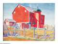 American:Regional, WINOLD REISS (American 1886-1953). Red Barn. Watercolor on paper. 22in. x 30.5in.. Signed lower left. ...