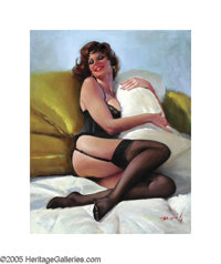 AMERICAN ILLUSTRATOR (20th century) Redhead with Pillow Oil on canvas 30in. x 24in. Signed lower right