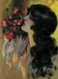 Paintings, ROLF ARMSTRONG (American 1890-1960). Girl with Roses. Pastel on paper. 26in.x 20in.. Signed lower right. ...