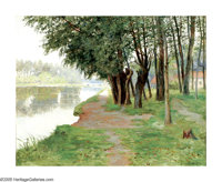 ROBERT WARD VAN BOSKERCK (American 1855-1932) Along the River Oil on canvas 20.5in x 25.75in Signed lower right Old exh...