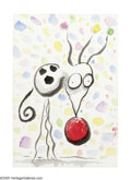 Post-War & Contemporary:Contemporary, TIM BURTON (American b.1958). Chihuahua with Red Nose.Watercolor on paper. 4in. x 6in.. ...