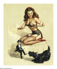 GIL ELVGREN (American 1914-1980) They're Easy to Handle If You Know How, 1948 Oil on canvas 30in. x 24in. Signed