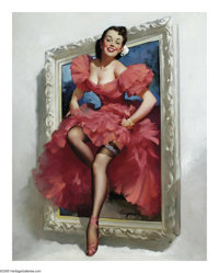 GIL ELVGREN (American 1914-1980) Stepping Out, 1953 Oil on canvas 30.5in. x 24in. Signed lower center: Elvgren <...
