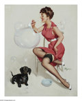 Illustration:Pin-Up, GIL ELVGREN (American 1914-1980) . Neat Trick, 1953 . Oil oncanvas . 30.5in. x 24in. . Signed lower right: Elvgren . Th...