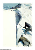 Illustration:Books, WILLIAM HENRY DETLEF KOERNER (American 1878-1938). Mountain Climbers. Oil on canvas. 36in.x 24in.. Signed with initials ...