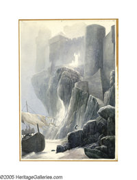 ALAN LEE (English b.1947) Lancelot at Carbonek, 1984 Watercolor on paper Signed lower center 15in. x 10.5in