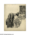 Illustration:Books, FORTUNINO MATANIA (Italian 1881-1968) . Wedding Scene .Mixed-media on board . 14.5in. x 12in. . Signed center right: F....