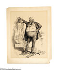 Illustration:Magazine, THOMAS NAST (American 1840-1902) . Was It the Petticoat Plea Which Softened the Hearts of the Jurors?, 1882 . Ink on pap... (Total: 2 Items)