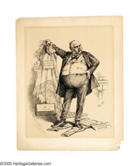 THOMAS NAST (American 1840-1902) Was It the Petticoat Plea Which Softened the Hearts of the Jurors?, 1882 Ink on pap