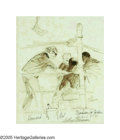 American:Sporting, LEROY NEIMAN (American b. 1921). In the Corner, 1971. Markerdrawing on paper. 14in. x 11.5in.. Signed and dated lower right...