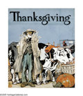Illustration:Magazine, EDWARD PENFIELD (American 1866-1925) . Thanksgiving, 1910 .Gouache on paper . 17in. x 14in. . Initialed monogram lower ...