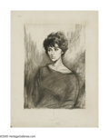 American:Modern, Attributed to RAPHAEL SOYER (American 1899-1987). Portrait of aWoman . Charcoal on board . 25in. x 19in.. Not Signed...