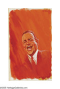 Illustration:Advertising, JACK RICKARD (American 1932-1983) . Jonathan Winters . Oilon board . 20in. x 12in. . Not signed...