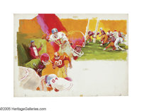 JACK RICKARD (American 1932-1983) Football montage, circa 1975 Oil on board 21.5in. x 30in. Signed upper right