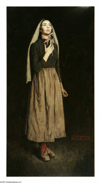 NORMAN ROCKWELL (American, 1894-1978) The Song of Bernadette, 1944 Oil on canvas 53 x 28 inches (