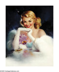 Illustration:Pin-Up, EDWARD RUNCI (American 1921-1985) . Untitled (Blonde withJewelry) . Oil on linen . 28in. x 22.5in. . Signed lowerright...