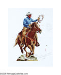 Paintings, JIM SMITH (American b.1928) . Marlboro Man . Colored marker on layout paper paper . 22in. x 17in. . Signed lower center ...