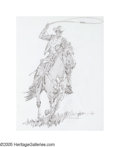 Illustration:Advertising, JIM SMITH (American b.1928) . Marlboro Man . Graphite onlayout paper . 24in. x 19in. . Signed lower right . Original Ma...