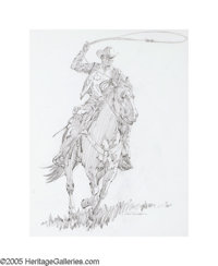 JIM SMITH (American b.1928) Marlboro Man Graphite on layout paper 24in. x 19in. Signed lower right Original Ma