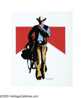 Illustration:Advertising, JIM SMITH (American b.1928) . Marlboro Man . Colored markeron paper with acetate overlay . 22in. x 18.5in. . Signed low...