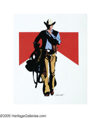 JIM SMITH (American b.1928) Marlboro Man Colored marker on paper with acetate overlay 22in. x 18.5in. Signed low