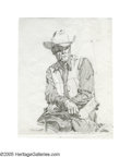 Illustration:Advertising, JIM SMITH (American b.1928) . Marlboro Man . Graphite onlayout paper . 13in. x 10.25in. . Signed lower left . Original ...