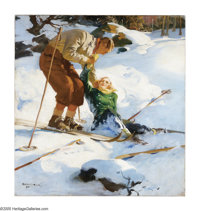 HADDON SUNDBLOM (American 1899-1976 ) Skiers (Snow Emergency) (Coca-Cola Advertisement), 1937 Oil on canvas 36in