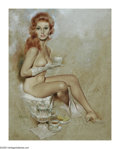 Illustration:Pin-Up, FRITZ WILLIS (American d. 1979) . Redhead with Tea Cup . Oilon board. 30in.x 24in.. Signed lower left: Fritz Willis...