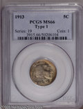 Buffalo Nickels: , 1913 5C Type One MS66 PCGS. PCGS Population (1277/321). NGC Census:(1040/228). Mintage: 30,993,520. Numismedia Wsl. Price:...