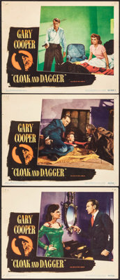 """Cloak and Dagger (Warner Brothers, 1946). Lobby Cards (3) (11"""" X 14""""). Thriller. ... (Total: 3 Items)"""