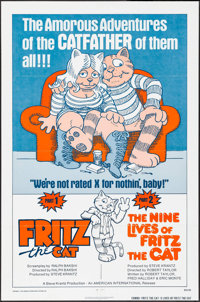 "Fritz the Cat/The Nine Lives of Fritz the Cat Combo (American International, R-1975). One Sheet (27"" X 41""). A..."
