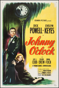 "Johnny O'clock (Columbia, 1947). One Sheet (27"" X 41""). Film Noir"