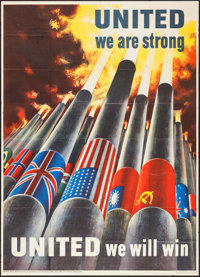 "World War II Propaganda (U.S. Government Printing Office, 1943). OWI Poster # 64 (40"" X 56"") ""United We A..."