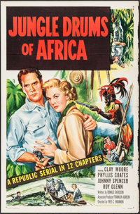 """Jungle Drums of Africa (Republic, 1952). Identical One Sheets (5) (27"""" X 41""""). Flat Folded. Serial. ... (Total..."""