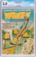 Golden Age (1938-1955):War, Wings Comics #43 (Fiction House, 1944) CGC VG/FN 5.0 Slightlybrittle pages....