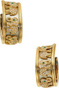 Estate Jewelry:Earrings, Diamond, Emerald, Gold Earrings, Cartier, French. ...