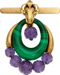 Estate Jewelry:Brooches - Pins, Malachite, Amethyst, Gold Brooch, David Webb. ...