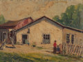 Fine Art - Painting, American, Carl Thomas Hoppe (American, 1897-1981). Old Doby, Mission SanFrancisco, The Old Water Hole in Bracken, Texas, and Bl...(Total: 4 Items)