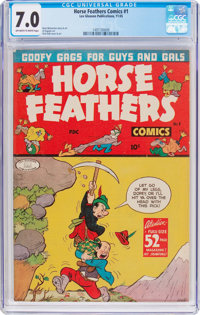 Horse Feathers Comics #1 (Lev Gleason, 1945) CGC FN/VF 7.0 Off-white to white pages