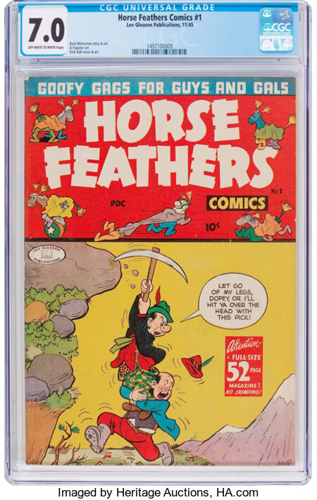 Horse Feathers Comics #1 (Lev Gleason, 1945) CGC FN/VF 7.0 Off-white to white pages....