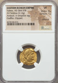 Ancients:Roman Imperial, Ancients: Valens (AD 364-378). AV solidus (3.12 gm). NGC VF 4/5 -1/5, crimped, graffito, clipped....