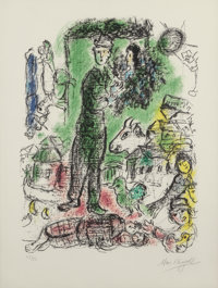 Marc Chagall (French/Russian, 1887-1985) Le Grand Paysan, 1968 Lithograph in colors on Arches paper<