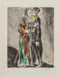 Fine Art - Work on Paper:Print, Marc Chagall (French/Russian, 1887-1985). Moses and Aaron,1958. Etching with handcoloring on Arches. 11-3/8 x 8-3/4 inc...