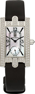 Estate Jewelry:Watches, Harry Winston Lady's Diamond, Mother-of-Pearl, White Gold Avenue Watch. ...