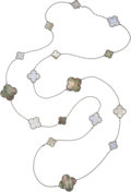 Estate Jewelry:Necklaces, Mother-of-Pearl, Agate, White Gold Necklace, Van Cleef &Arpels, French. ...