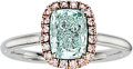 Estate Jewelry:Rings, Fancy Green-Blue Diamond, Colored Diamond, Platinum, Rose GoldRing. ...