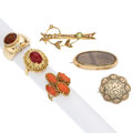 Estate Jewelry:Lots, Multi-Stone, Diamond, Seed Pearl, Gold, Gold-Filled Jewelry. ... (Total: 6 Items)